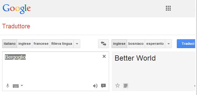 Traduttore Google Bergoglio